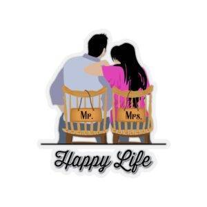 Mr. Mrs. Happy Life – Kiss-Cut Sticker Gifts for Couples Gifts For Husband Gifts For Wife Stickers